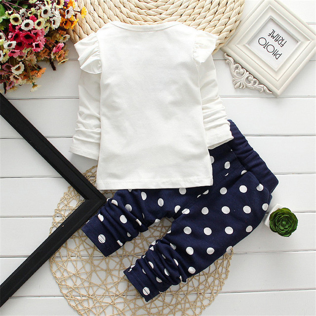 2017 new Spring children girls clothing sets mouse early autumn clothes bow tops t shirt leggings pants baby kids 2 pcs suit 1