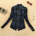 Кожаное пальто 2014 весна короткие куртки женщины тонкий кожаный мотоцикл куртка джинсовая лоскутное кожаная одежда леди кожаная куртка