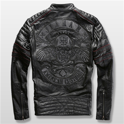 harley-motorcycle-2016-genuine-cowhide-leather-skull-mens-slim-short-leather-jacket