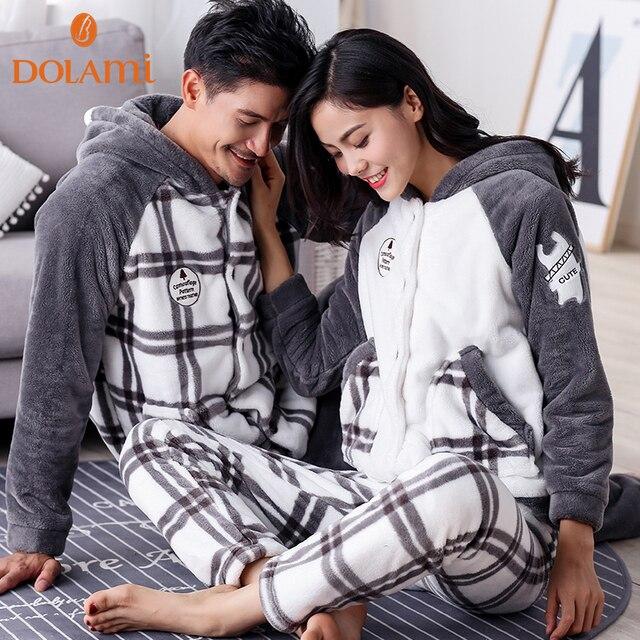 Amantes de la Tela Escocesa de invierno Pijamas de Franela Caliente Con Capucha Pareja Pijamas de Manga Larga ropa de Dormir Flojo Mujeres y Hombres Homewear Informal