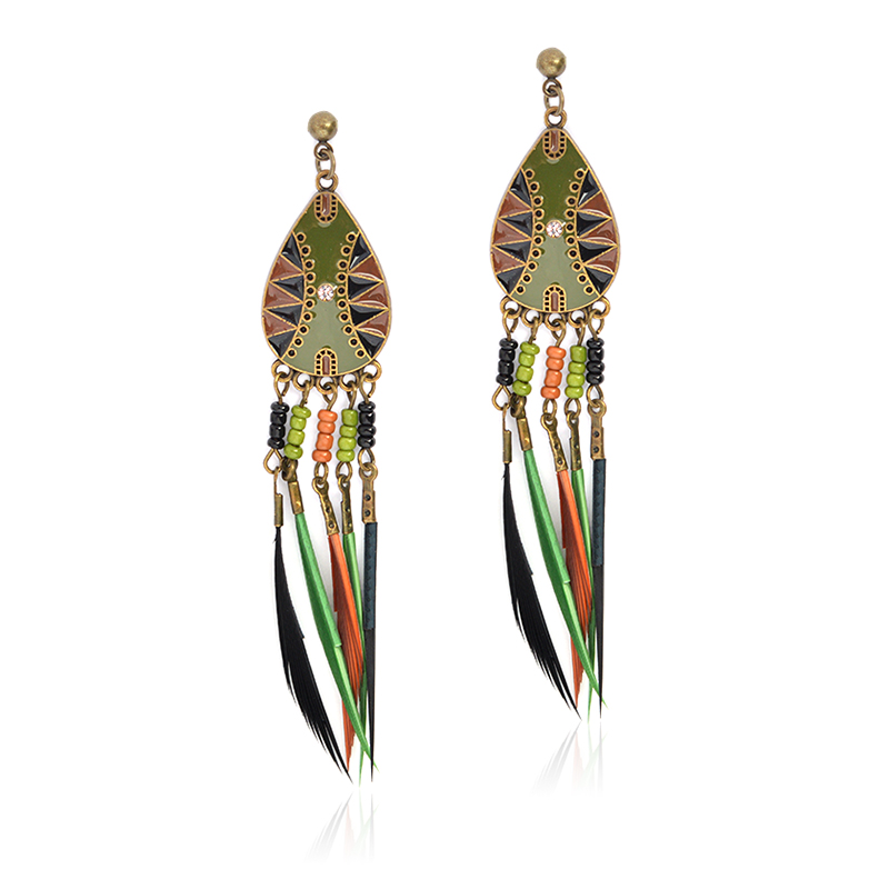 3439d498957871 Miss Zoe Summer BOHO Jewelry Contrast Color Beads Feather Tassel Drop  Earrings Bohemia Vintage Charm Earrings Gift Women Fashion