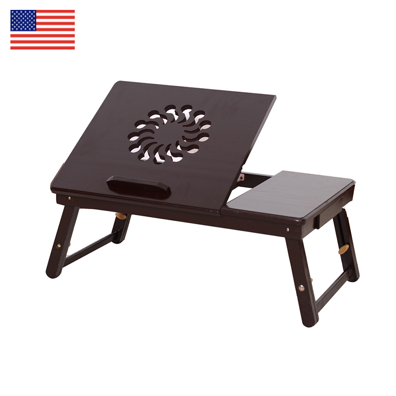 Student dormitory Bed desk Folding table Fashion Sunflower Engraving Pattern Adjustable Bamboo Computer Desk bedroom furniture цена