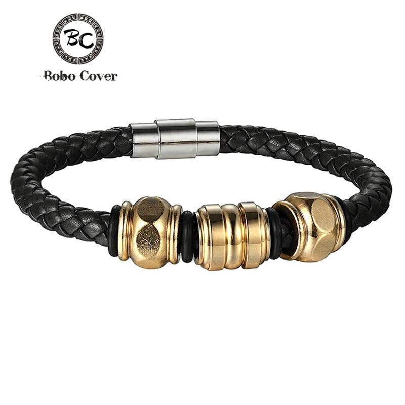 Bobo Cover 2017 Wholesale Genuine Leather Men Bracelets Stainless Steel Magnet Clasps Bracelets & Wristband Vintage Gifts
