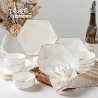 В соответствии с высоким классом костяного фарфора посуда 18 шт. чаша набор Китайский домашний костюм Европейский творческий керамические б