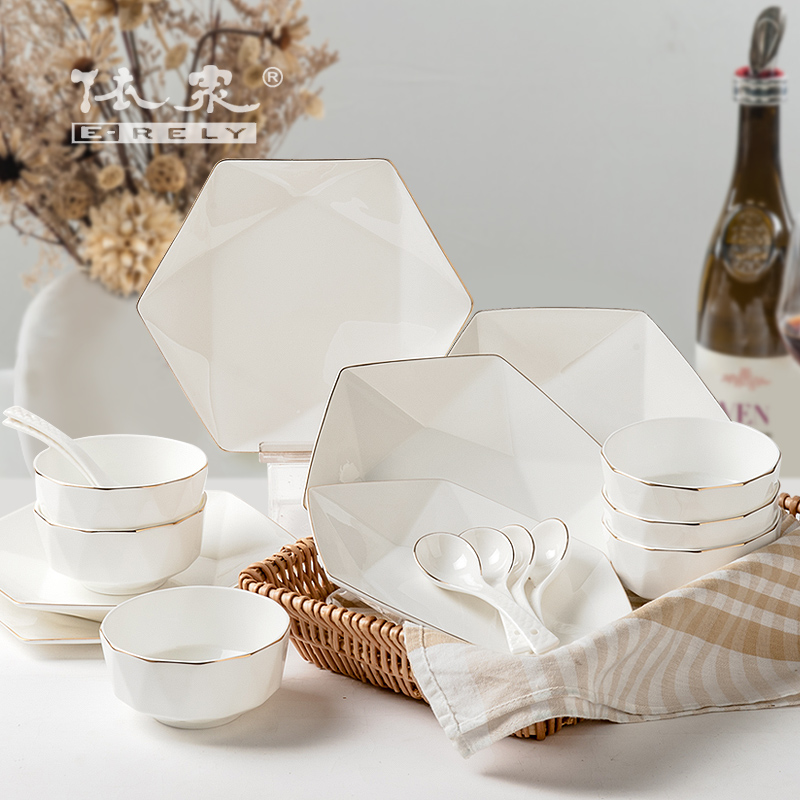 According to the high-grade bone china tableware 18 pieces bowl set Chinese household suit European creative ceramics dishesAccording to the high-grade bone china tableware 18 pieces bowl set Chinese household suit European creative ceramics dishes