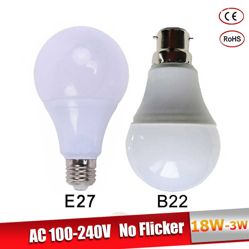 lamparas led e27 220V 110V 3W 5W 7W 9W 12W 15W 18W  B22 LED Bulb Real Power lampadine led Cold Warm White Led Spotlight