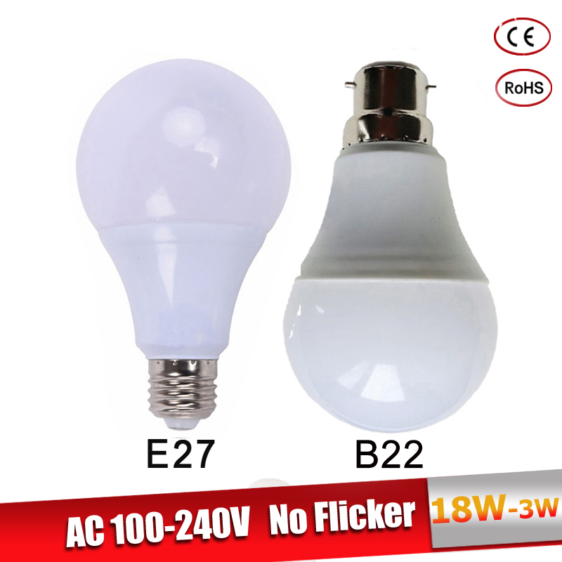 Lamparas Led E27 220V 110V 3W 5W 7W 9W 12W 15W 18W  B22 LED Bulb Real Power Lampadine Led Cold Warm White Led Spotlight