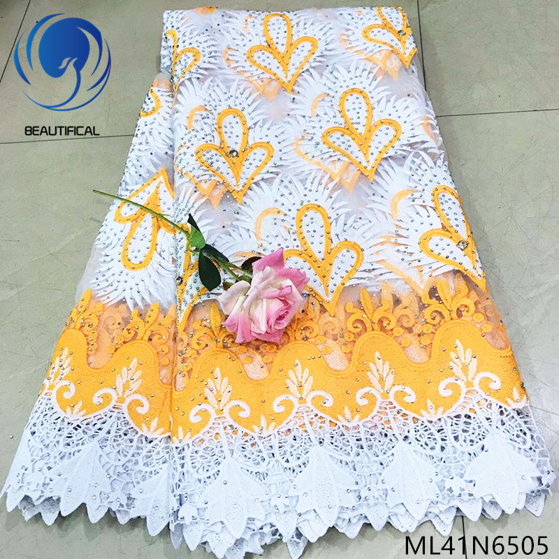 Beautifical nigerian lace bridal fabrics lace embroidery baeds fabric for wedding 2019 Fashion net lace guipure fabric ML41N65