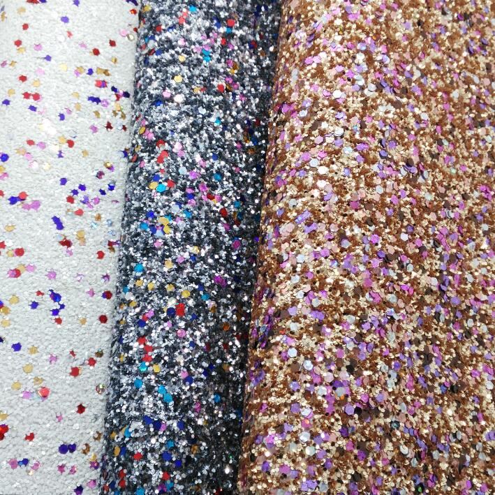 Mixed Color Chunky Glitter Leather Fabric Synthetic Leather Chunky Fabric Embossed with Hearts P823