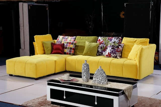 Bright Yellow Color Fabric Sofa Set 0411 Af569