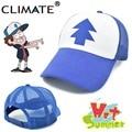 Climate gravedad caídas de balancín de béisbol de malla camionero gorras cosplay aficionados sombrero fresco del verano infantil chicos chicas adultas ee. uu de dibujos animados mabel