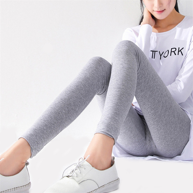 2016 New Ladies Cotton Legging Women Sportswear Black trousers Stretch Waist Deporte Deep Grey Leggins For Woman Ropa Mujer K129