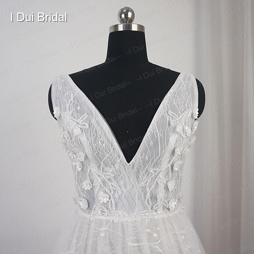 V Neck Flower Beaded Wedding Dress Luxury Beaded Lace Bridal Gown ...