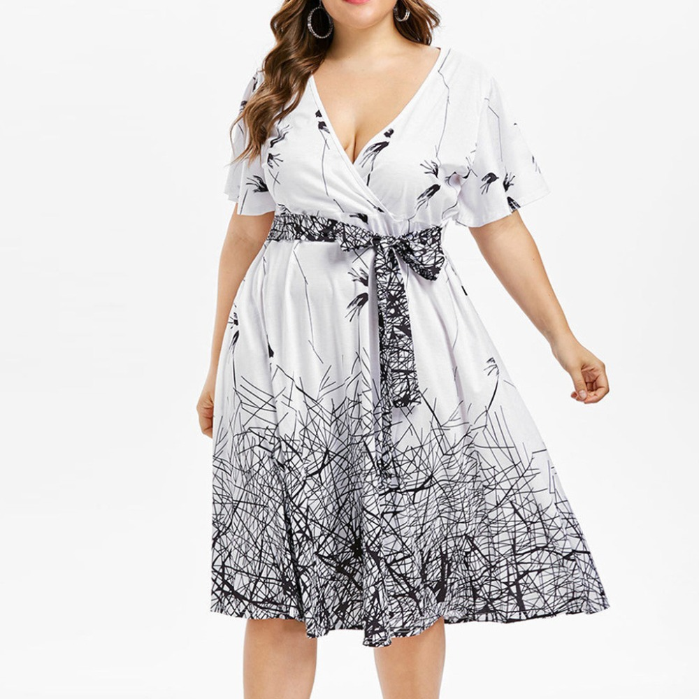Plus Size Summer Bandage Print Dress For Women Short-sleeve V-neck Party Sexy Ladies A-Line Dress Large Size Vestidos Mujer BB4