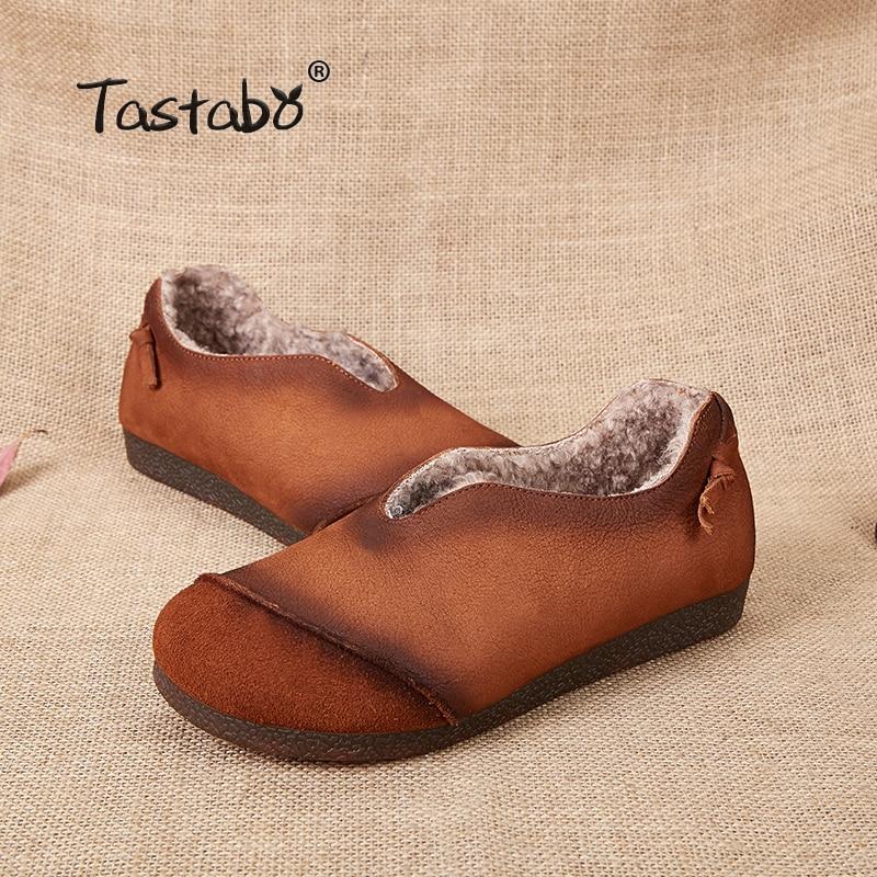 D'hiver Tastabo Chaud Chaussures Mocassins Mode Véritable Fourrure Laine Appartements De Black Cuir Plat L'intérieur Vraie À brown En Femmes wrnXO7qrv