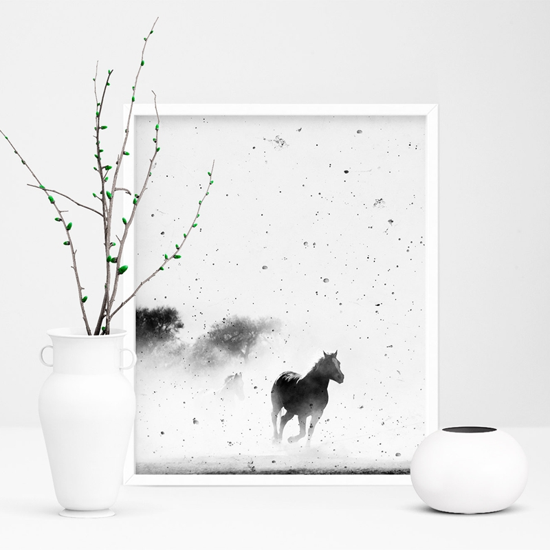 Black-and-White-Horse-Photography-Wall-Art-Canvas-Print-and-Poster-Cowboy-Horse-Quote-Canvas-Painting (4)