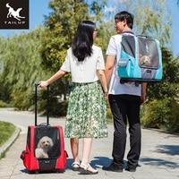 Passeggiatori TAILUP Piccola Ruota Portante Dell'animale Domestico Del Gatto Del Cane Portatile Zaino Traspirante Puppy Rullo Auto Bagaglio Da Viaggio Borsa per Il Trasporto