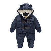 2019 חדש ילד וילדה romper יילוד תינוק ילדי חליפת שלג למטה בגדי תינוק חורף בגדי כותנה עבה חם ברדס תינוק jum