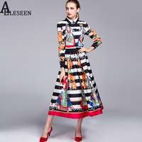 Fashion Vintage Twinsets 2016 Autumn Brand Long Sleeve Turtleneck Character Tops Kneel Length Striped Dress
