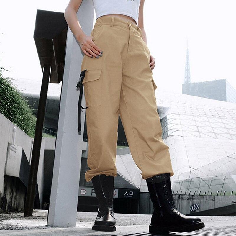 ADISPUTENT Streetwear Cargo Pants Women Casual Joggers Black High Waist Loose Female Trousers Korean Style Ladies Pants Capri 9