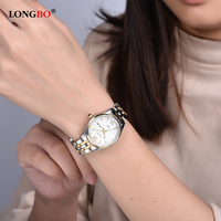 LONGBO 2017 Wristwatch Women Date Watches Top Brand Luxury Gold Steel Ladies Quartz Wrist Watch Female