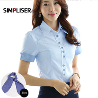 Women Shirts Wear To Work 2019 Summer Office Ladies Formal Blouses Pink White Blue Femme Tops Business Suit Shirts