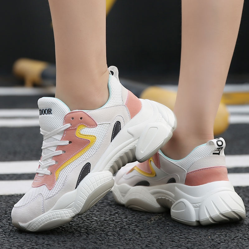 Height Increasing Woman Running Shoes Fashion Leather Mesh Pitchwork Sports Female Shoes Hot Sale Lace-Up Shoes Women Sneakers(China)