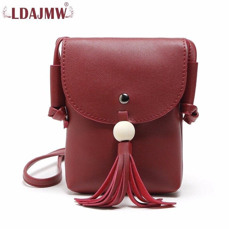 LDAJMW Weichem Leder Kleine Handtasche Quaste Frauen Messenger Bags Weiblichen Umhängetasche Damen Handy Taschen