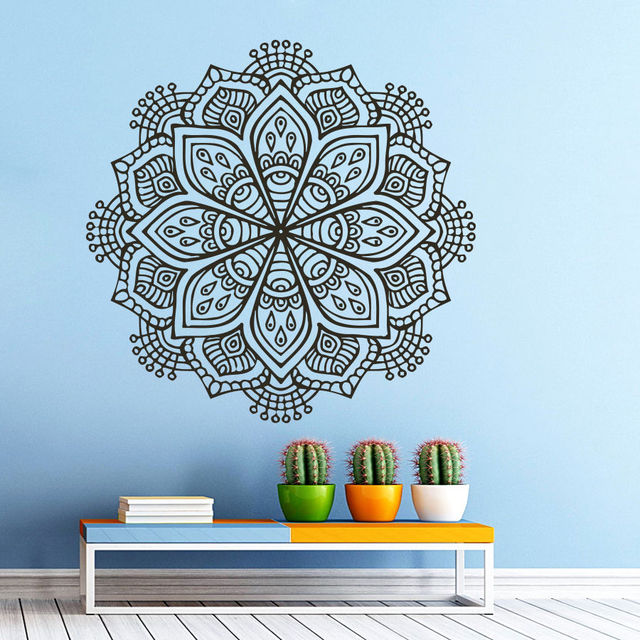 23*23in Mandala Wall Decal Vinyl Sticker Decals Yoga Namaste Indian  Ornament Om Home Decor