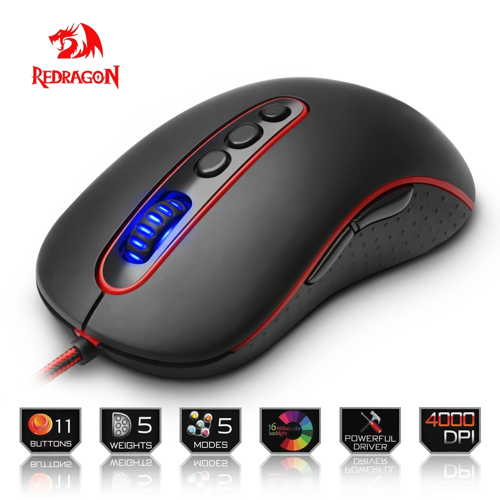 Redragon USB Gaming Mouse 4000DPI 11 buttons ergonomic design for desktop computer accessories programmable Mice gamer lol PC 6 programmable buttons cougar gaming mouse 500m laser ergonomic optical game mice 4000dpi on board memory
