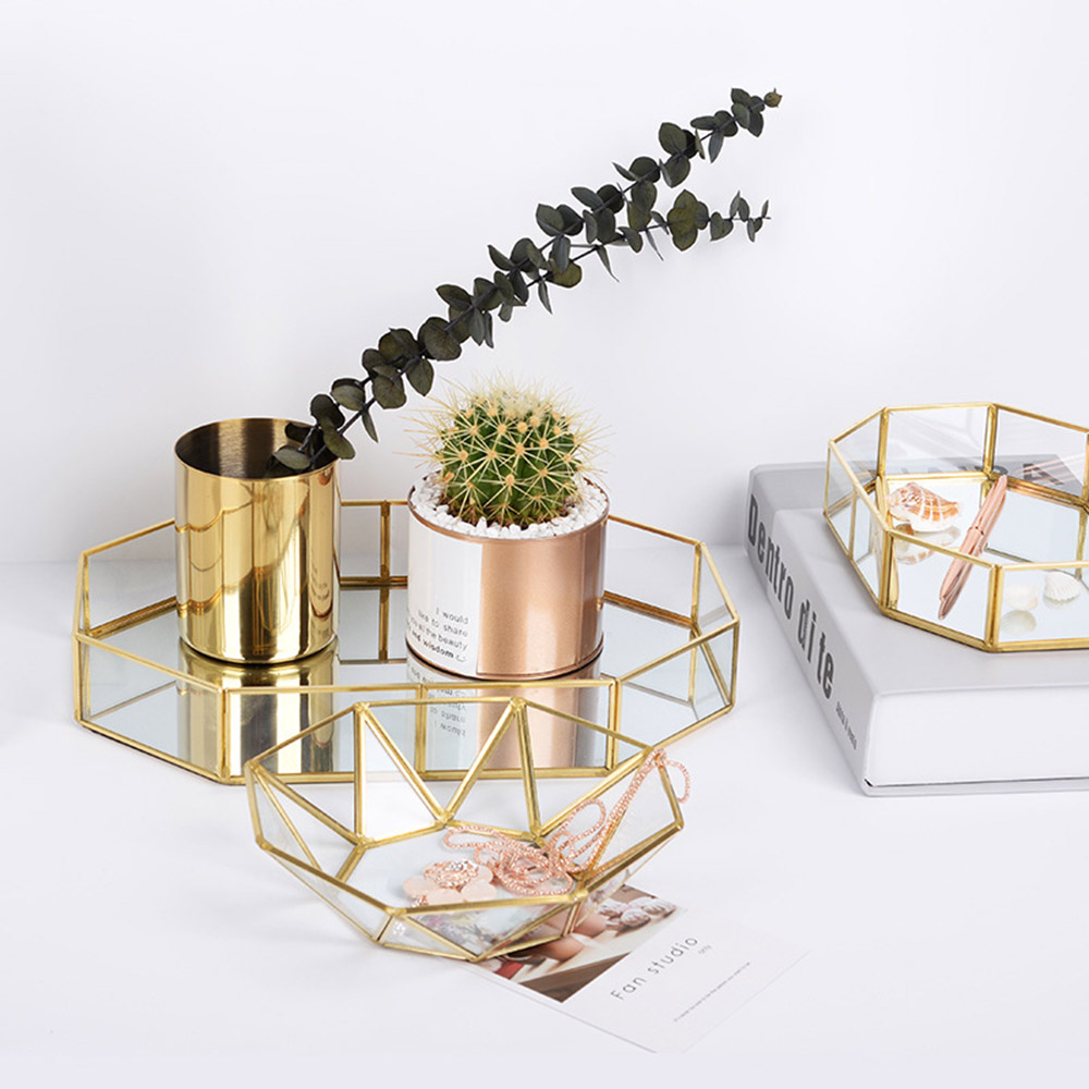 YOLALA Nordic Style Glass Copper Geometry Storage Baskets Box Simplicity Style Home Organizer for Jewelry Necklace Dessert Plate