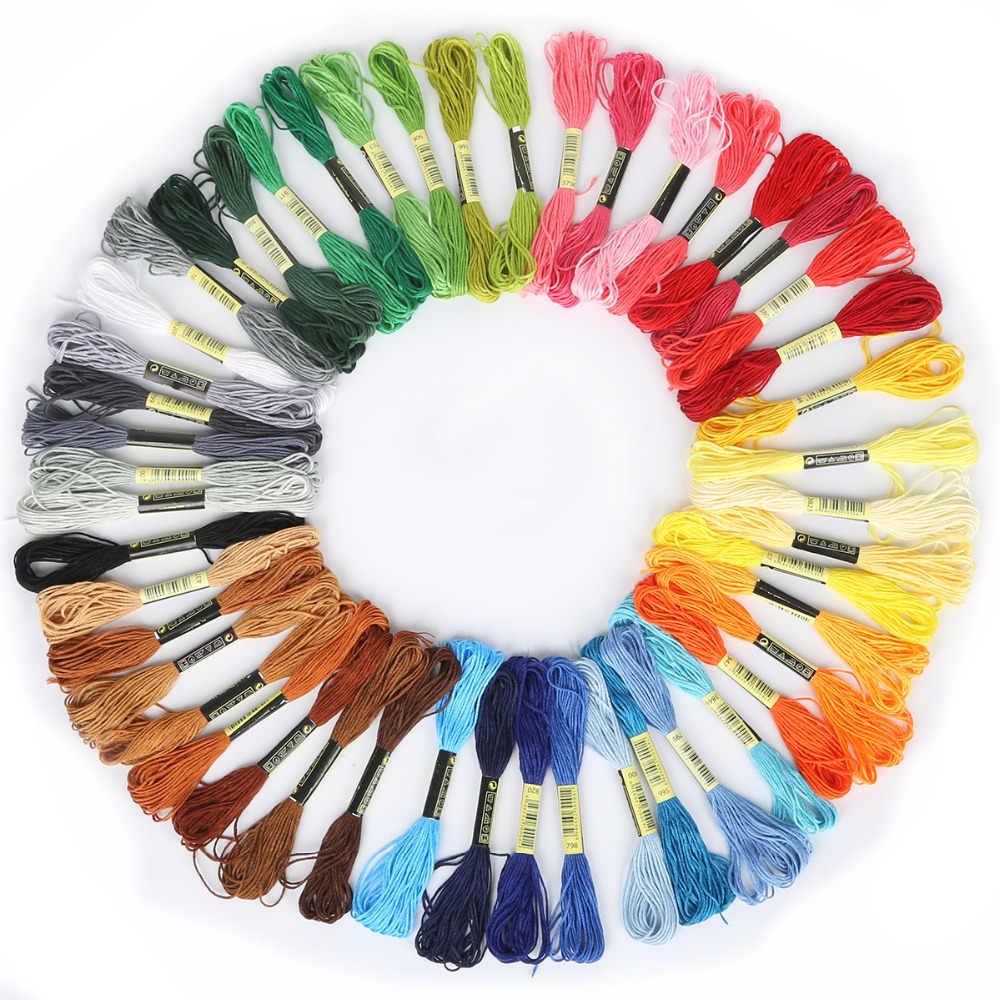 Multicolor, 8 piezas, hilo DMC Similar, punto de cruz, madeja de costura de algodón, hilo de bordar, Kit de costura DIY