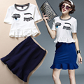 Good Quality 2016 Summer Women Embroidery Eyes Sparkle Diamond T-shirt Tops + Blue Ruffles Cute Ladies Skirts Suits NS298