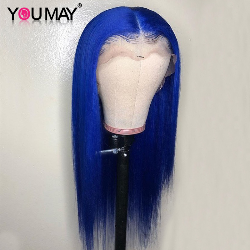 Colored Lace Front Human Hair Wig 13x6 Transparent Lace Wigs For Women Blue Color Straight Lace Wigs You May Remy Hair
