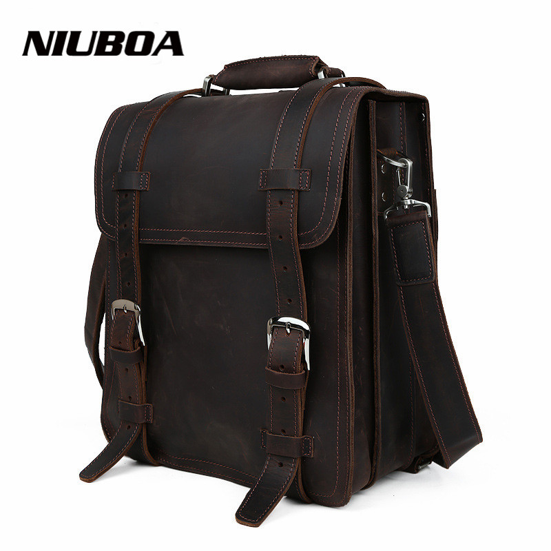 NIUBOA Man Cowhide Backpack Top Quality Vintage Genuine ...