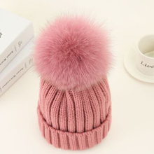 Real Fur Pom Poms Winter Hat For Women Girl 's Hat Knitted Beanies Cap Mink And Fox Fur Ball Cap Brand New Thick Female Cap цена