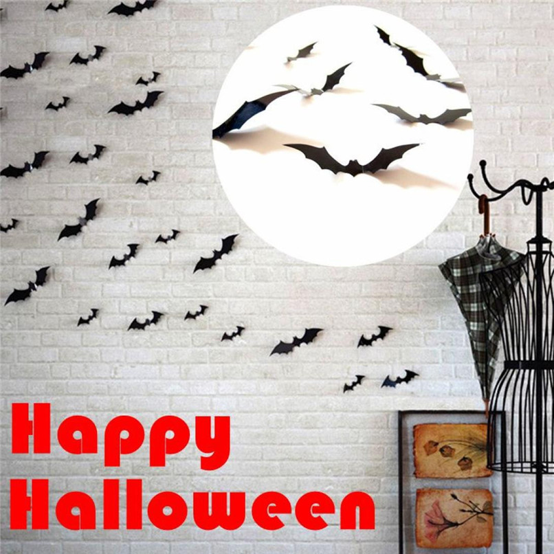HOT Halloween 12pcs Black 3D DIY PVC Bat Wall Sticker Decal Home Halloween&All Saints' Day decor bats sticker supply 2018 @50