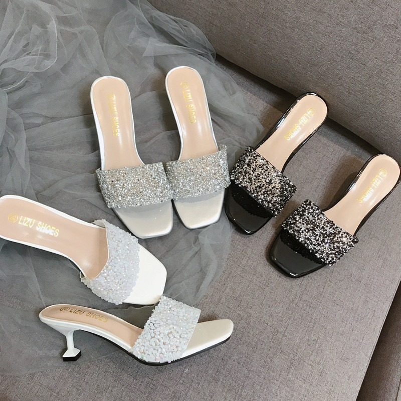 Fashion Women Crystal Slippers Low Square Heel Mules Bling Diamond Slides Flip Flops Sandals Women Flat Shoes Wedding