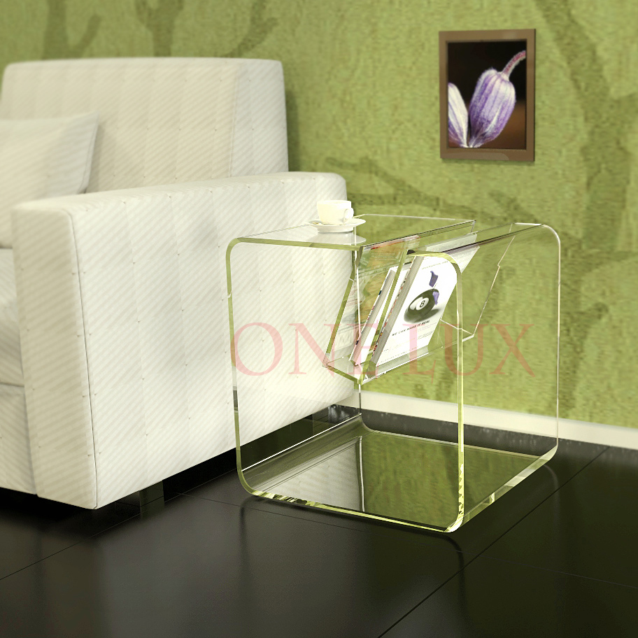 ONE LUX Acrylic Modern Side Coffee Occasional Sofa Tables With Magazine Rack - 3 colors one lux waterfall acrylic lucite lounge sofa table plexiglass waiting room magazine side coffee corner tables