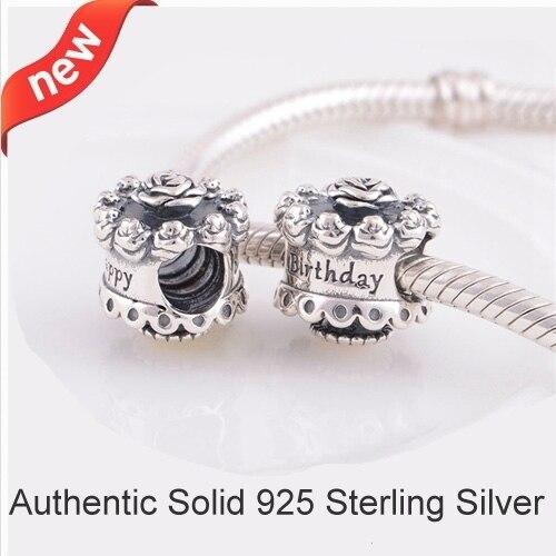 Fits Pandora Bracelets 925 Sterling Silver Happy Birthday Charm European Bead Jewelry