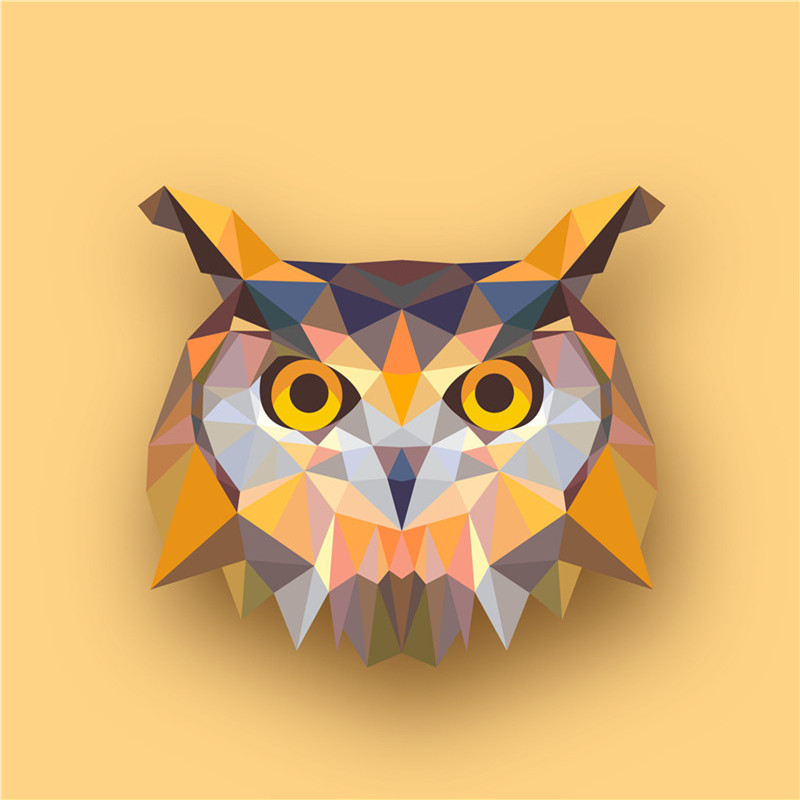 Geometric Animals Owl Canvas Art Print Painting Poster, Print Wall ...