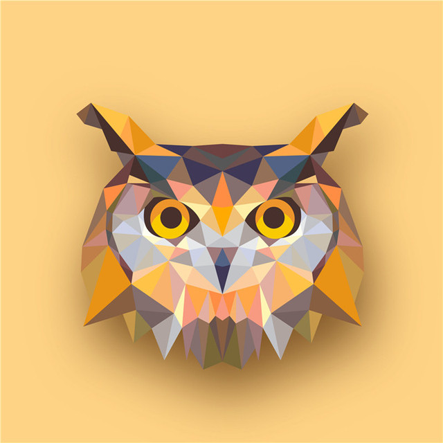 Geometric Animals Owl Canvas Art Print Painting Poster, Print Wall ...