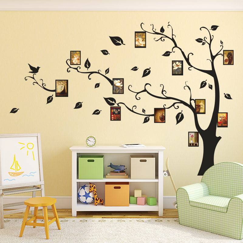 Free shipping large 150 215cm 60 86inch black diy tree for Diy family tree wall mural