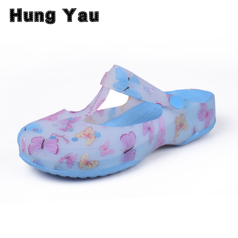 Hung Yau Women Multicolor Garden Shoes Woman Summer Style Clogs Beach Flat Sandals Famous Brand For Women High Quality Size US 8 2018 women closed toe beach slippers eva light weight breathable sandals for women chinese style print simple garden clogs shoes