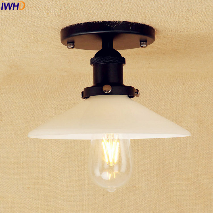 Vintage Industrial Loft Style Ceiling Fixtures Retro Lamp: IWHD Black LED Ceiling Lights Fixtures Glass Living Room