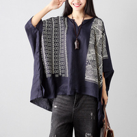 2017 Autumn New Retro Cotton Linen Bat Sleeves Loose T Shirt Women Print Casual Wild Women