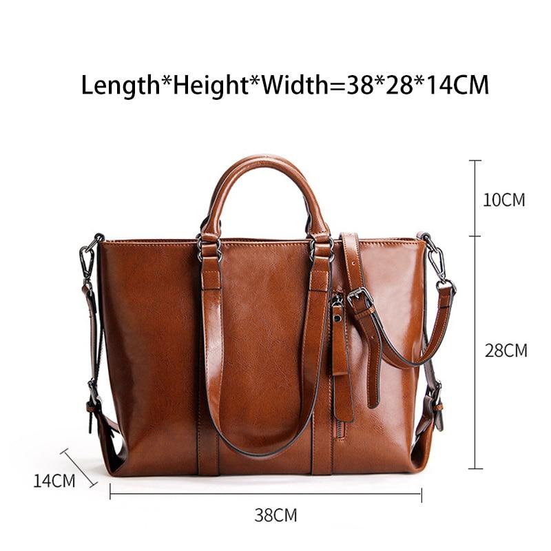 Zency Retro สีน้ำตาลกระเป๋าถือสตรี 100% ของแท้หนัง Casual กระเป๋าถือขนาดใหญ่ความจุกระเป๋า Elegant Crossbody ไหล่กระเป๋า-ใน กระเป๋าหูหิ้วด้านบน จาก สัมภาระและกระเป๋า บน   3