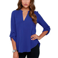New Blouse Sexy V Neck Chiffon Women Blouse Casual Three Quarter Sleeve OL Style Solid Shirts