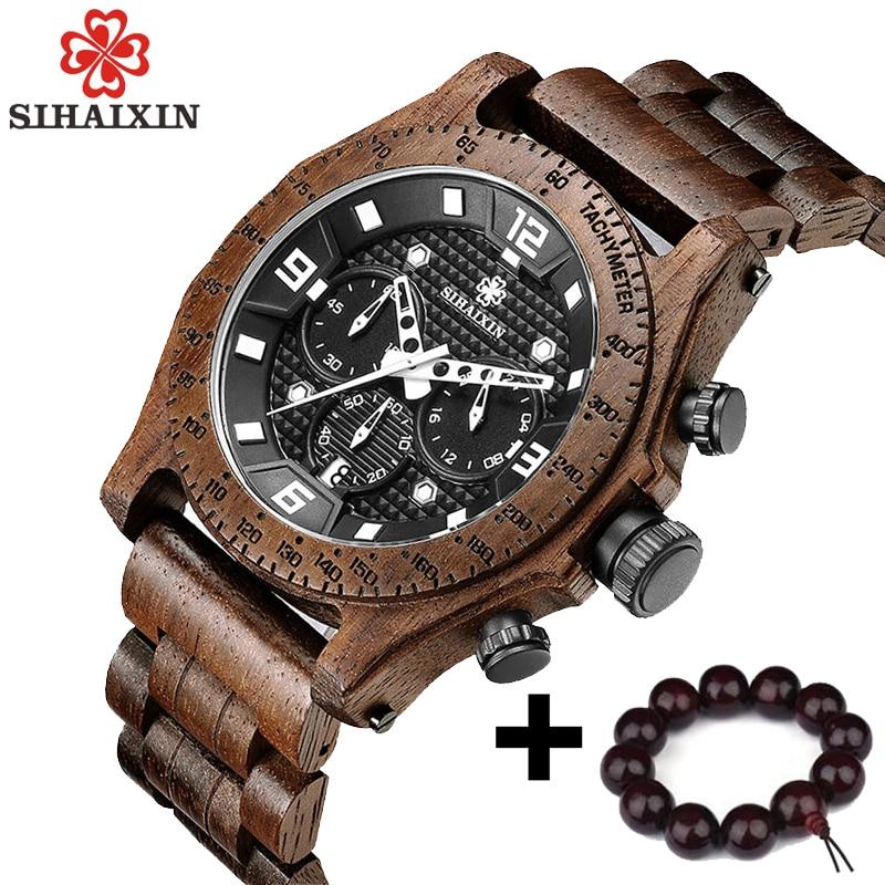 SIHAIXIN новые Для Мужчин's орех деревянные часы Водонепроницаемый Спорт кварца Японии двигаться Для мужчин t Хронограф Военная древесины наруч...