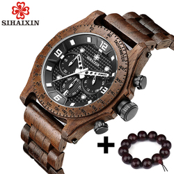 SIHAIXIN Newest Men's Walnut Wooden Watch Waterproof Sport Quartz Japan Movement Chronograph Military Wood Wrist Watches Clock